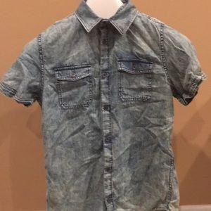 Calvin Klein denim look Button down shirt Sz Small